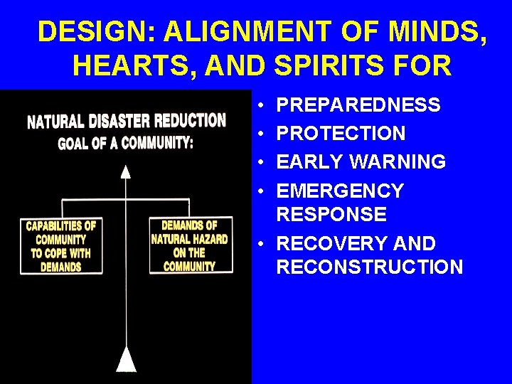 DESIGN: ALIGNMENT OF MINDS, HEARTS, AND SPIRITS FOR • • PREPAREDNESS PROTECTION EARLY WARNING