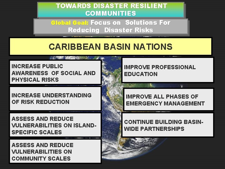 TOWARDS DISASTER RESILIENT COMMUNITIES Global Goal: Focus on Solutions For Reducing Disaster Risks CARIBBEAN