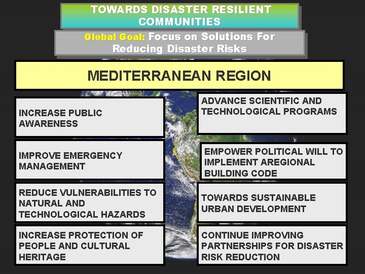 TOWARDS DISASTER RESILIENT COMMUNITIES Global Goal: Focus on Solutions For Reducing Disaster Risks MEDITERRANEAN