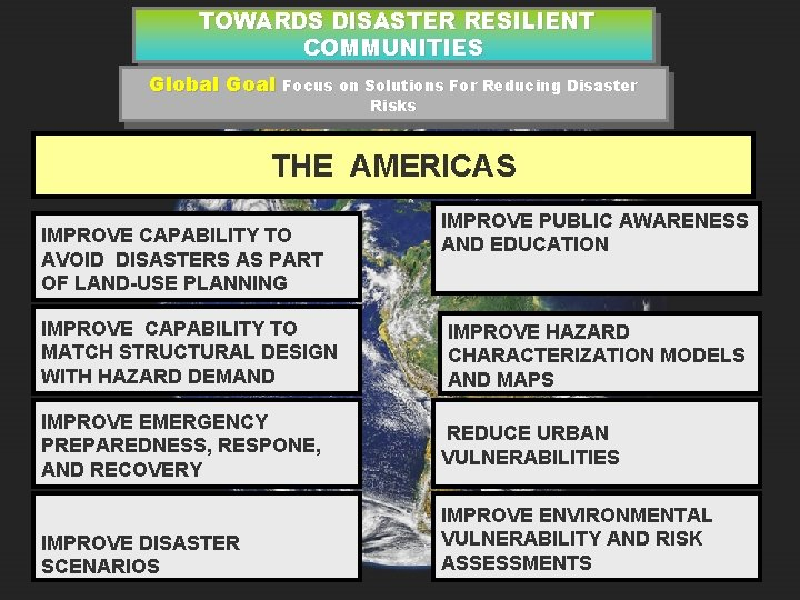 TOWARDS DISASTER RESILIENT COMMUNITIES Global Goal Focus on Solutions For Reducing Disaster Risks THE