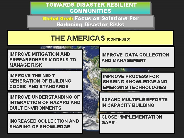 TOWARDS DISASTER RESILIENT COMMUNITIES Global Goal: Focus on Solutions For Reducing Disaster Risks THE