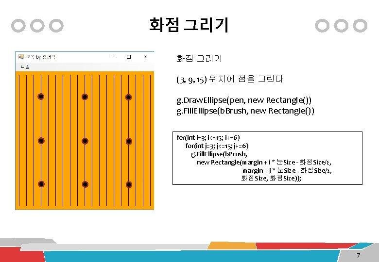화점 그리기 (3, 9, 15) 위치에 점을 그린다 g. Draw. Ellipse(pen, new Rectangle()) g.