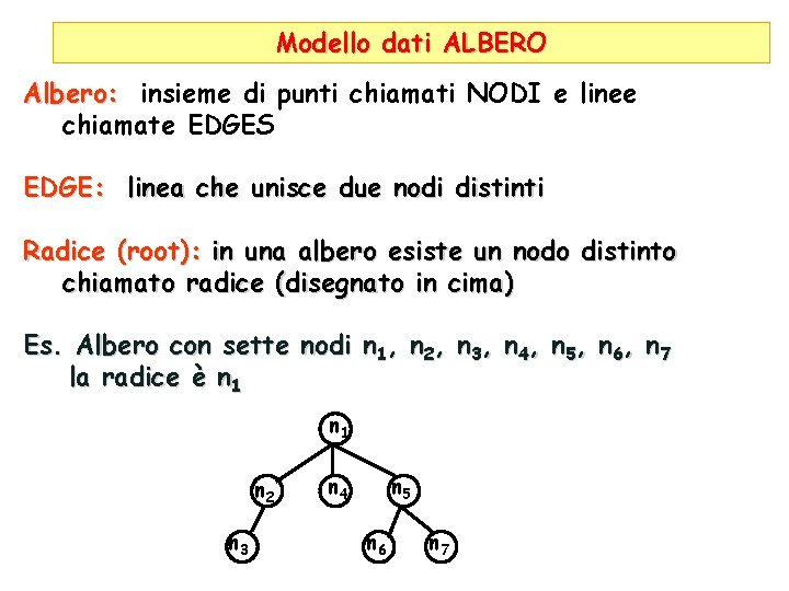 Modello dati ALBERO Albero: insieme di punti chiamati NODI e linee chiamate EDGES EDGE: