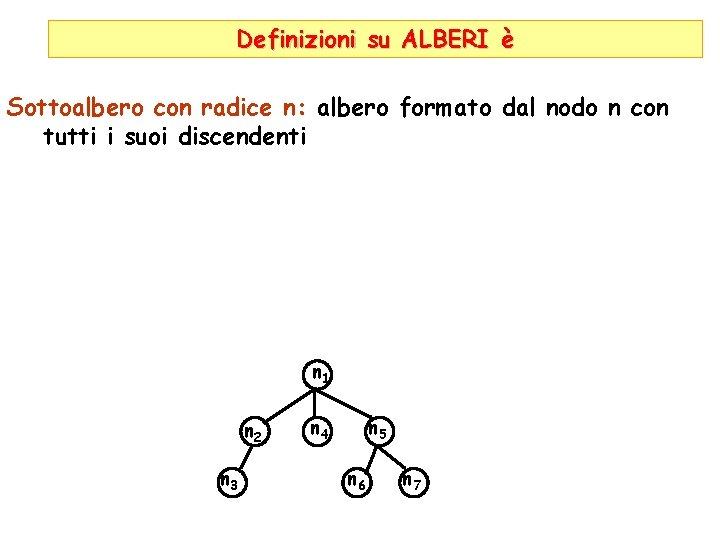 Definizioni su ALBERI è Sottoalbero con radice n: albero formato dal nodo n con
