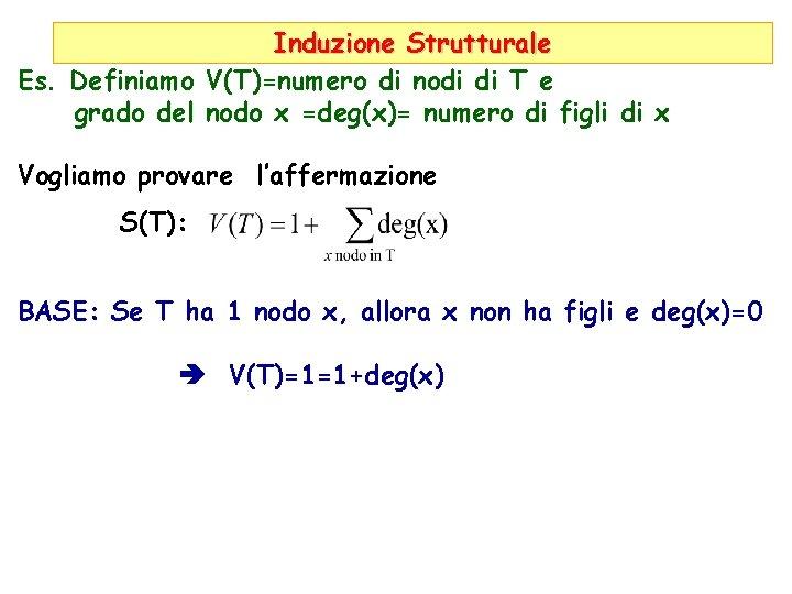 Induzione Strutturale Es. Definiamo V(T)=numero di nodi di T e grado del nodo x