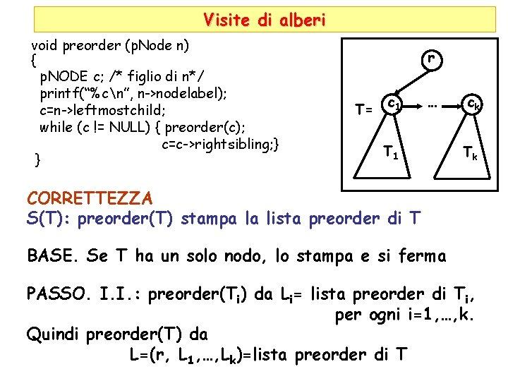 Visite di alberi void preorder (p. Node n) { p. NODE c; /* figlio