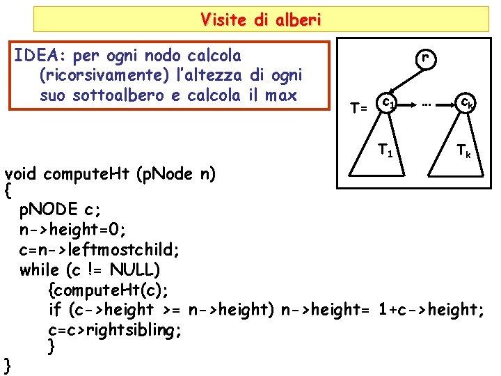 Visite di alberi IDEA: per ogni nodo calcola (ricorsivamente) l'altezza di ogni suo sottoalbero