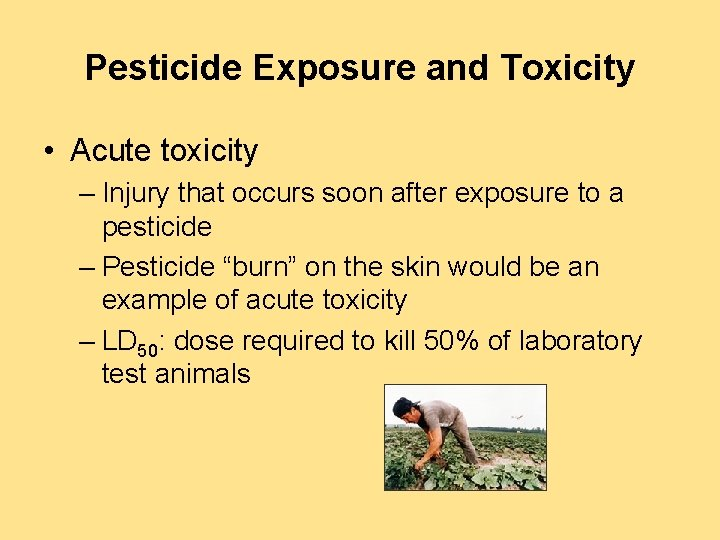 Pesticide Exposure and Toxicity • Acute toxicity – Injury that occurs soon after exposure
