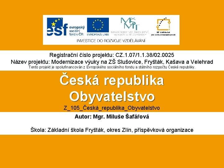 Registrační číslo projektu: CZ. 1. 07/1. 1. 38/02. 0025 Název projektu: Modernizace výuky na