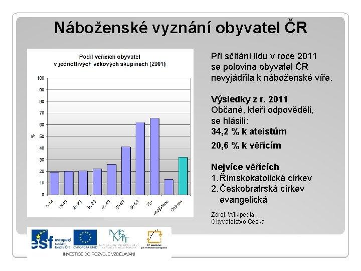 Náboženské vyznání obyvatel ČR Při sčítání lidu v roce 2011 se polovina obyvatel ČR