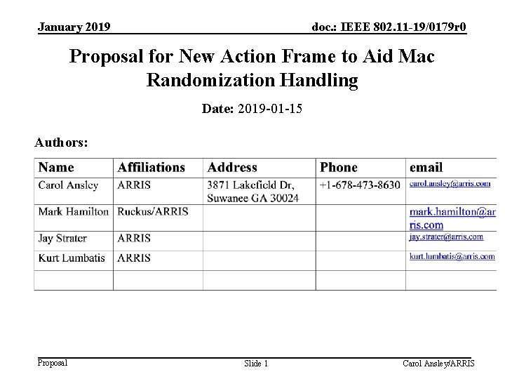 January 2019 doc. : IEEE 802. 11 -19/0179 r 0 Proposal for New Action