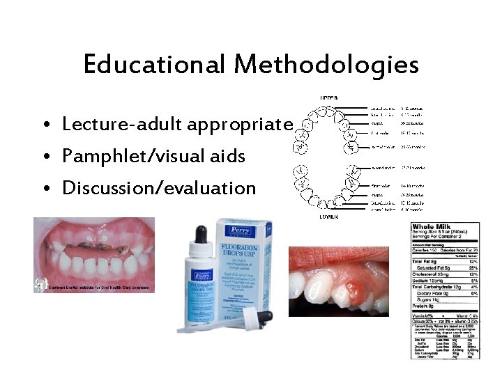 Educational Methodologies • Lecture-adult appropriate • Pamphlet/visual aids • Discussion/evaluation