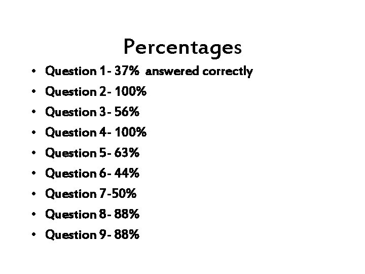 Percentages • • • Question 1 - 37% answered correctly Question 2 - 100%