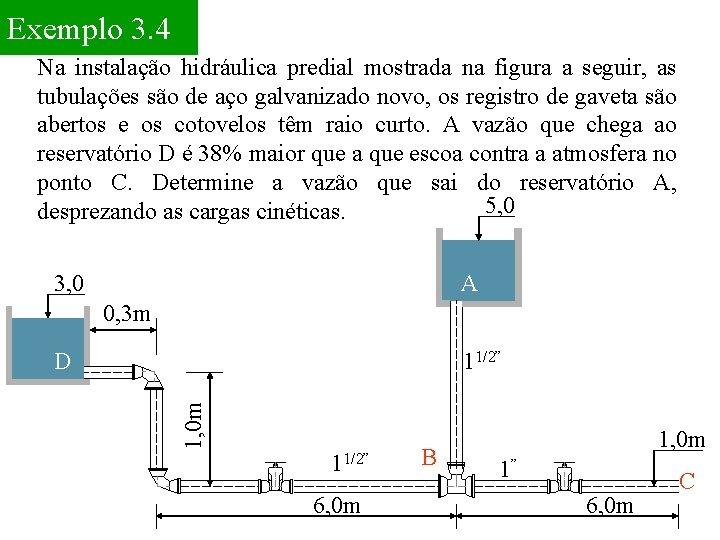 Exemplo 3. 4 Na instalação hidráulica predial mostrada na figura a seguir, as tubulações