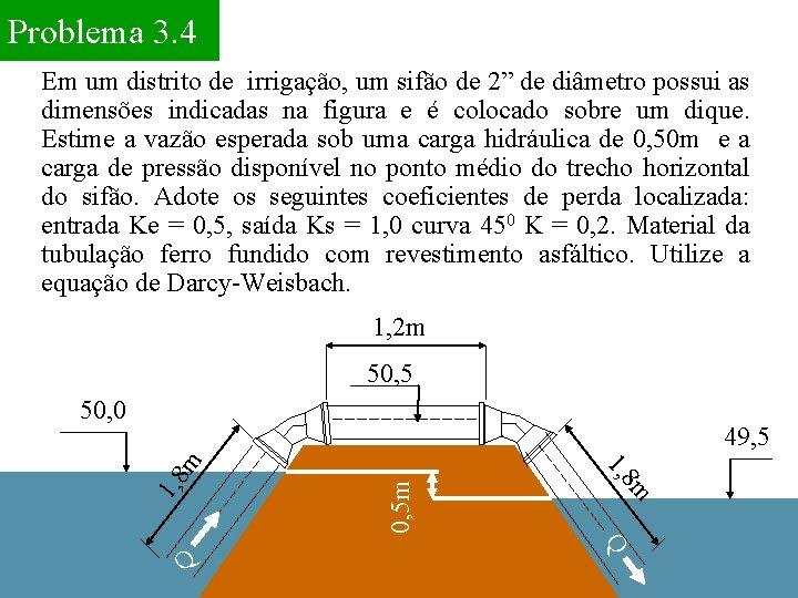 """Problema 3. 4 Em um distrito de irrigação, um sifão de 2"""" de diâmetro"""