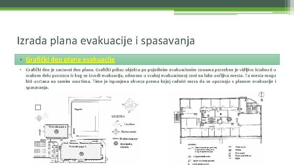 Izrada plana evakuacije i spasavanja • Grafički deo plana evakuacije • Grafički deo je