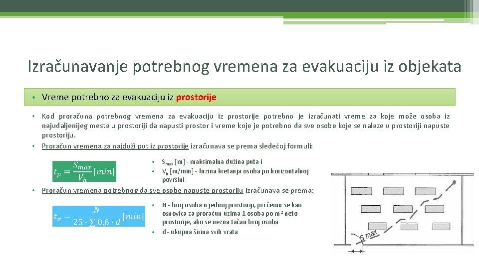 Izračunavanje potrebnog vremena za evakuaciju iz objekata • Vreme potrebno za evakuaciju iz prostorije