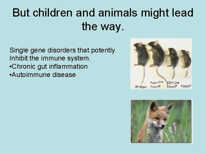 But children and animals might lead the way. Single gene disorders that potently Inhibit