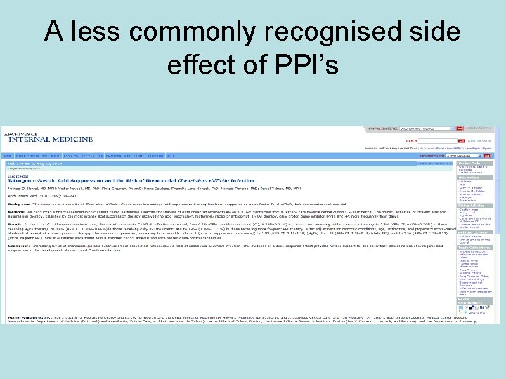 A less commonly recognised side effect of PPI's