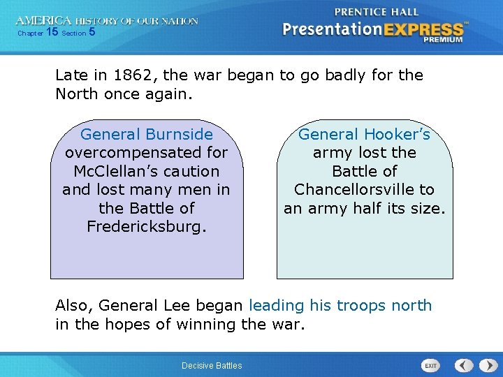 Chapter 15 Section 5 Late in 1862, the war began to go badly for