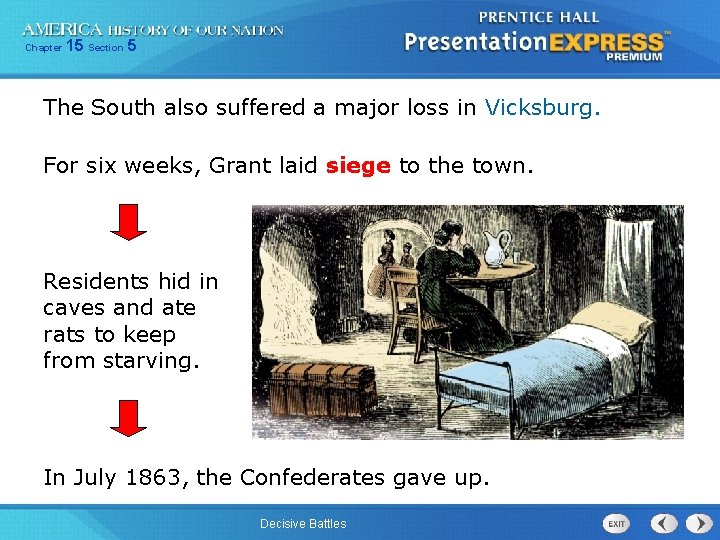 Chapter 15 Section 5 The South also suffered a major loss in Vicksburg. For