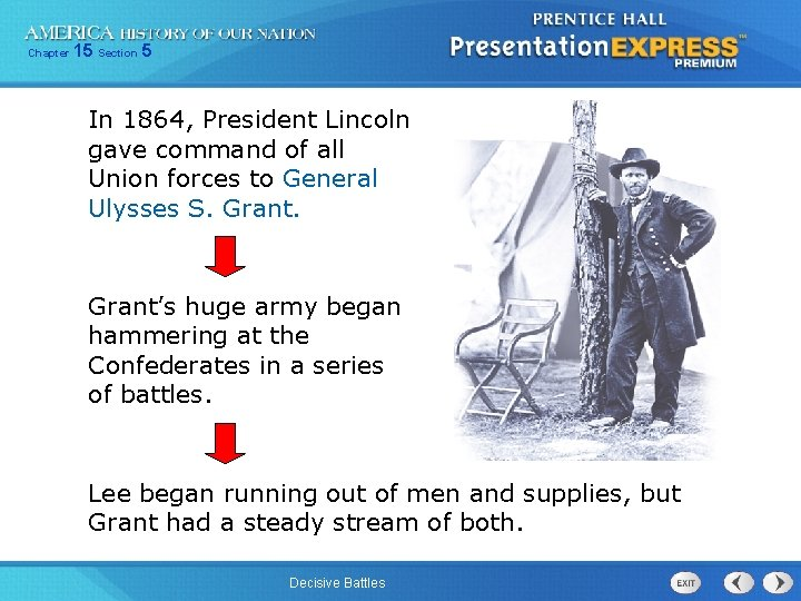 Chapter 15 Section 5 In 1864, President Lincoln gave command of all Union forces