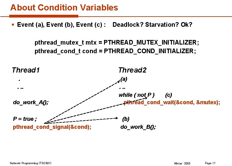About Condition Variables § Event (a), Event (b), Event (c) : Deadlock? Starvation? Ok?