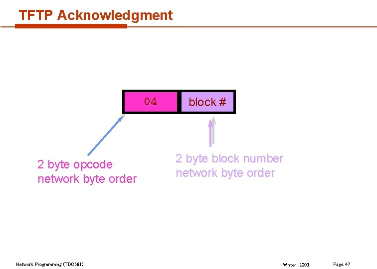 TFTP Acknowledgment 04 2 byte opcode network byte order Network Programming (TDC 561) block