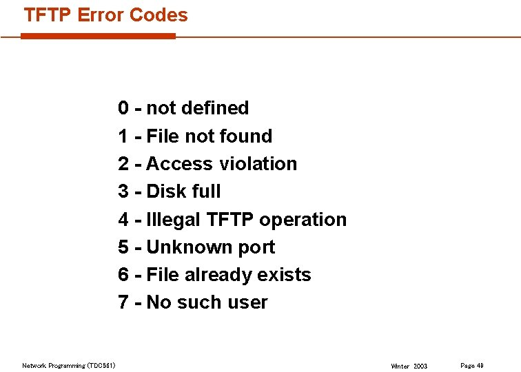 TFTP Error Codes 0 - not defined 1 - File not found 2 -