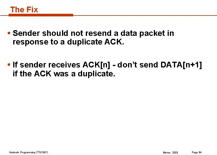 The Fix § Sender should not resend a data packet in response to a