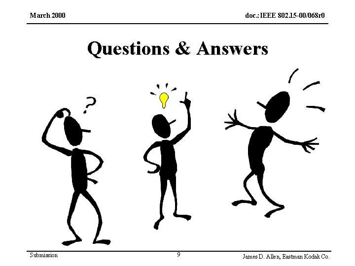 March 2000 doc. : IEEE 802. 15 -00/068 r 0 Questions & Answers Submission