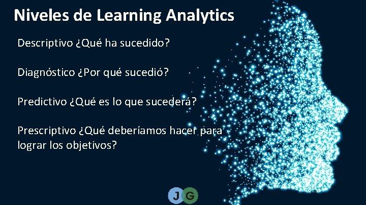 Niveles de Learning Analytics Descriptivo ¿Qué ha sucedido? Diagnóstico ¿Por qué sucedió? Predictivo ¿Qué