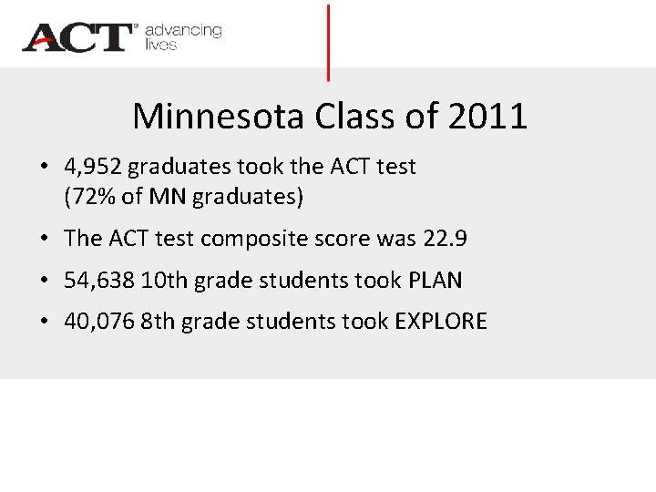 Minnesota Class of 2011 • 4, 952 graduates took the ACT test (72% of