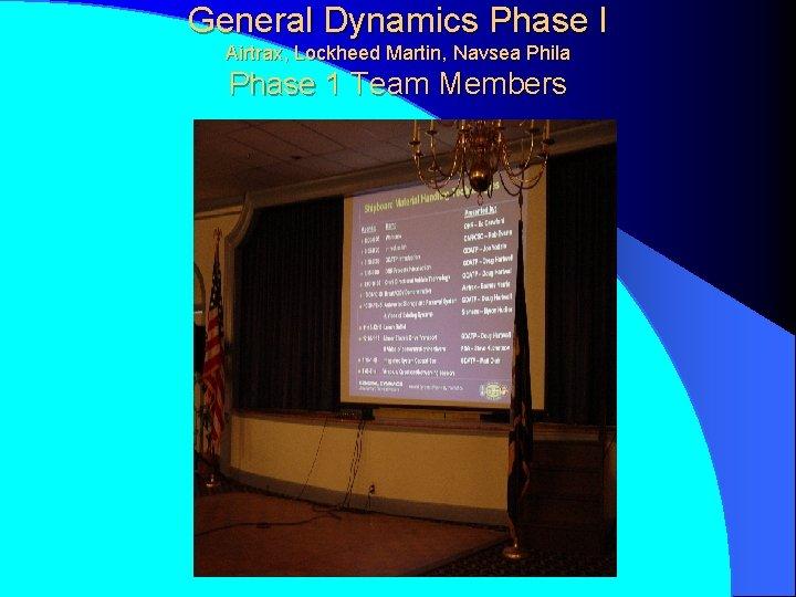 General Dynamics Phase I Airtrax, Lockheed Martin, Navsea Phila Phase 1 Team Members