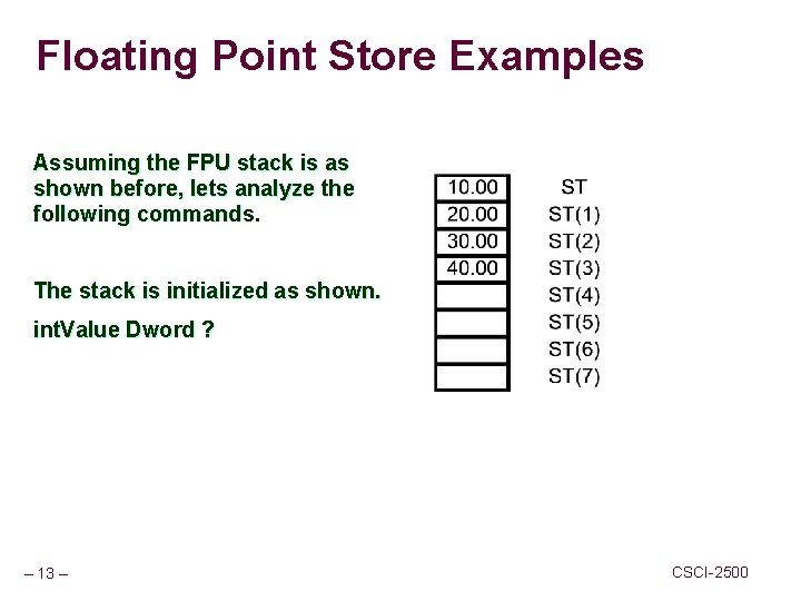 Floating Point Store Examples Assuming the FPU stack is as shown before, lets analyze