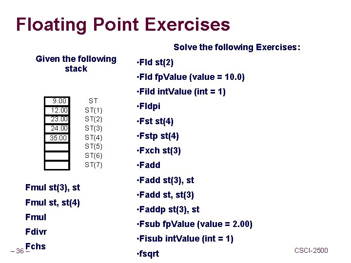 Floating Point Exercises Solve the following Exercises: Given the following stack • Fld st(2)