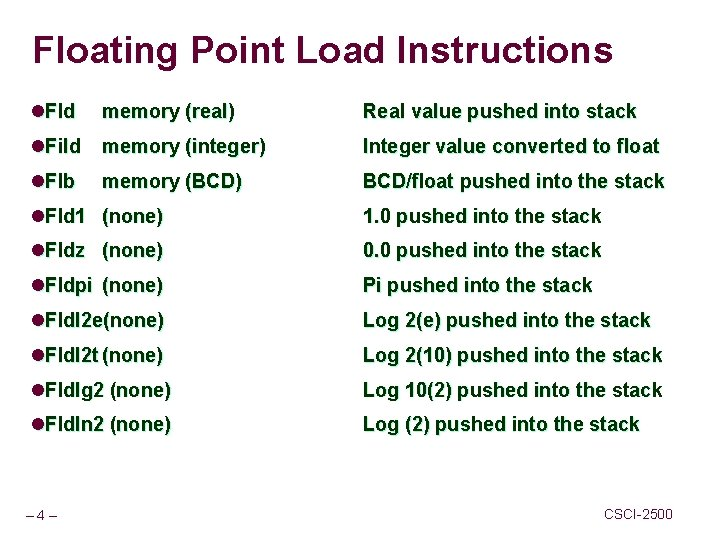 Floating Point Load Instructions l. Fld memory (real) Real value pushed into stack l.