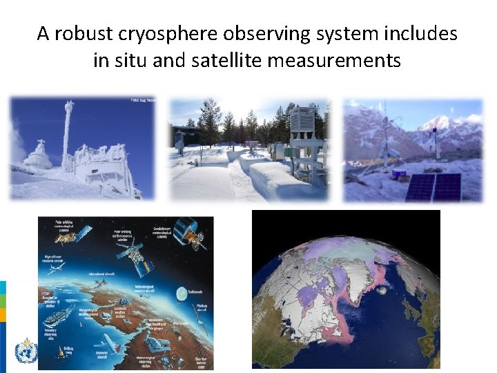 A robust cryosphere observing system includes in situ and satellite measurements
