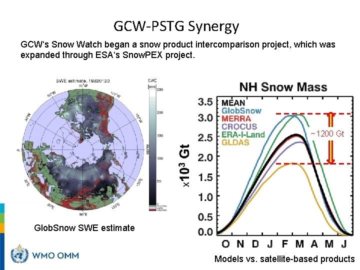 GCW-PSTG Synergy GCW's Snow Watch began a snow product intercomparison project, which was expanded