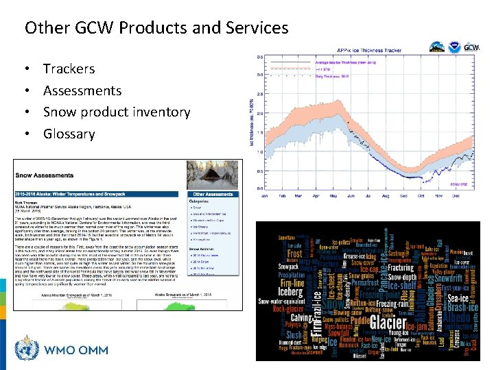 Other GCW Products and Services • • Trackers Assessments Snow product inventory Glossary