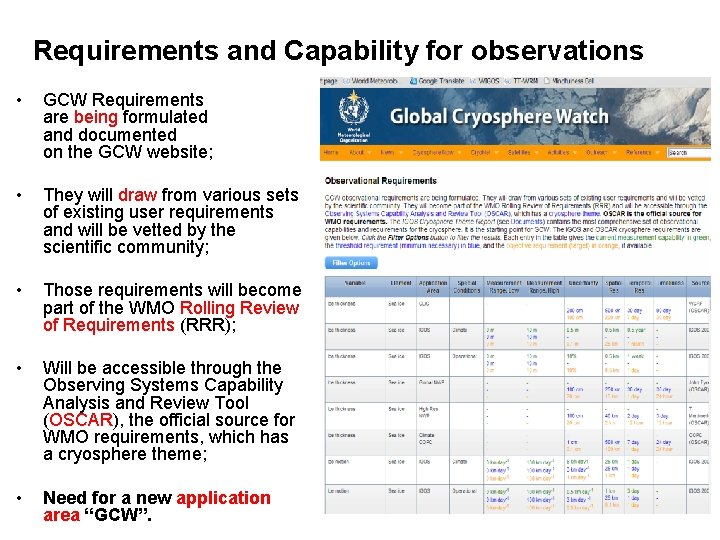 Requirements and Capability for observations • GCW Requirements are being formulated and documented on
