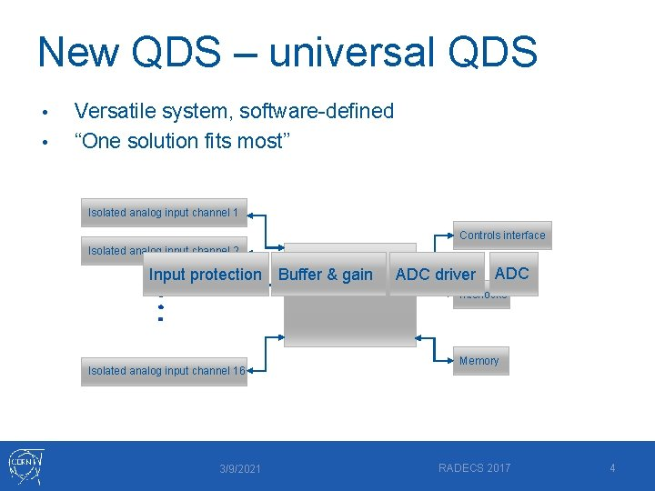 """New QDS – universal QDS • • Versatile system, software-defined """"One solution fits most"""""""