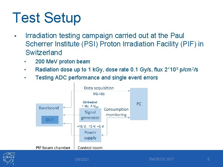 Test Setup • Irradiation testing campaign carried out at the Paul Scherrer Institute (PSI)
