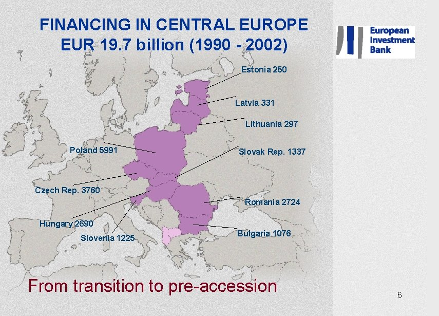 FINANCING IN CENTRAL EUROPE EUR 19. 7 billion (1990 - 2002) Estonia 250 Latvia
