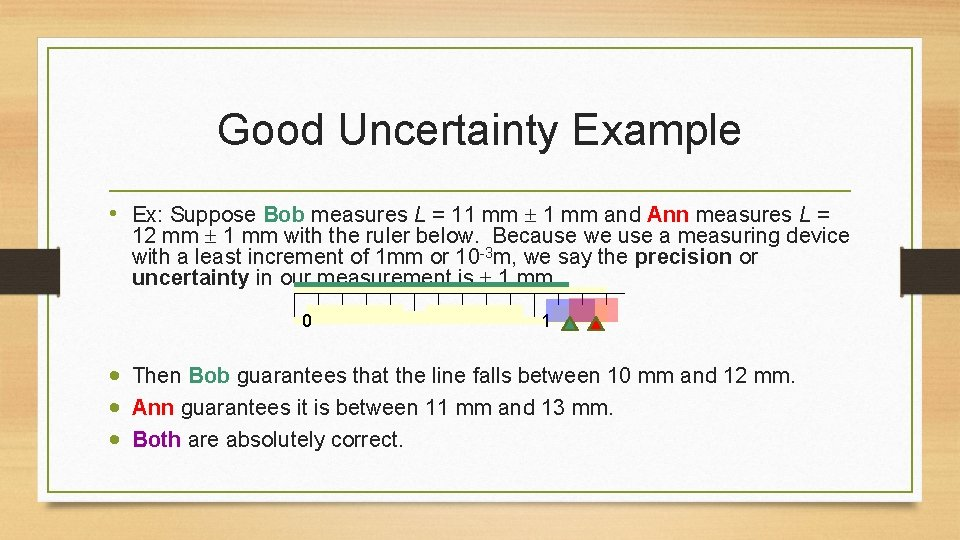 Good Uncertainty Example • Ex: Suppose Bob measures L = 11 mm and Ann