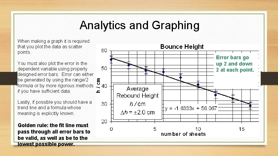 Analytics and Graphing When making a graph it is required that you plot the