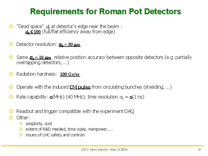 "Requirements for Roman Pot Detectors ¢ ""Dead space"" d 0 at detector's edge near"