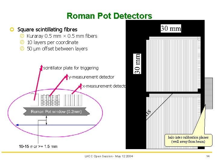 Roman Pot Detectors ¢ Square scintillating fibres ¾ Kuraray 0. 5 mm × 0.