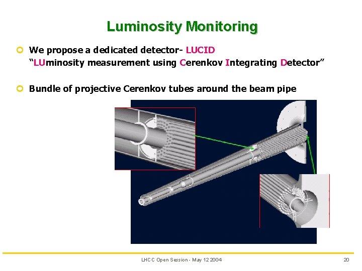 "Luminosity Monitoring ¢ We propose a dedicated detector- LUCID ""LUminosity measurement using Cerenkov Integrating"