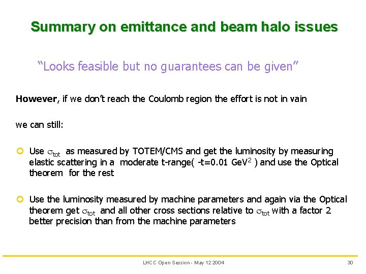 """Summary on emittance and beam halo issues """"Looks feasible but no guarantees can be"""